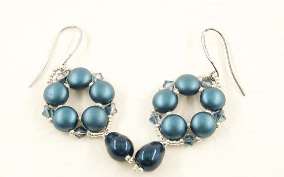 Swarovski beaded earrings, handmade earrings, petrol earrings, dangle earrings, elegant earrings, drop earrings, swarovski crystal, bicones