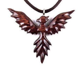 Phoenix Necklace, Phoenix Pendant, Phoenix Jewelry, Wood Phoenix Rising Necklace Pendant, Firebird Necklace, Firebird Pendant, Wood Jewelry
