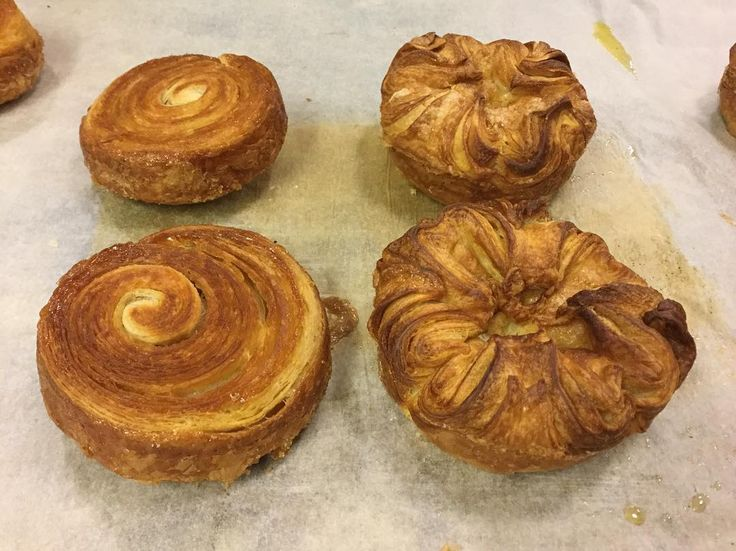 Development - 2 versions of Kouign Amann, both need hella more sugar and butter in the moulds for more caramel goodness round the outside. Not too keen on the 'escargot' version, looks plain next to the other one.