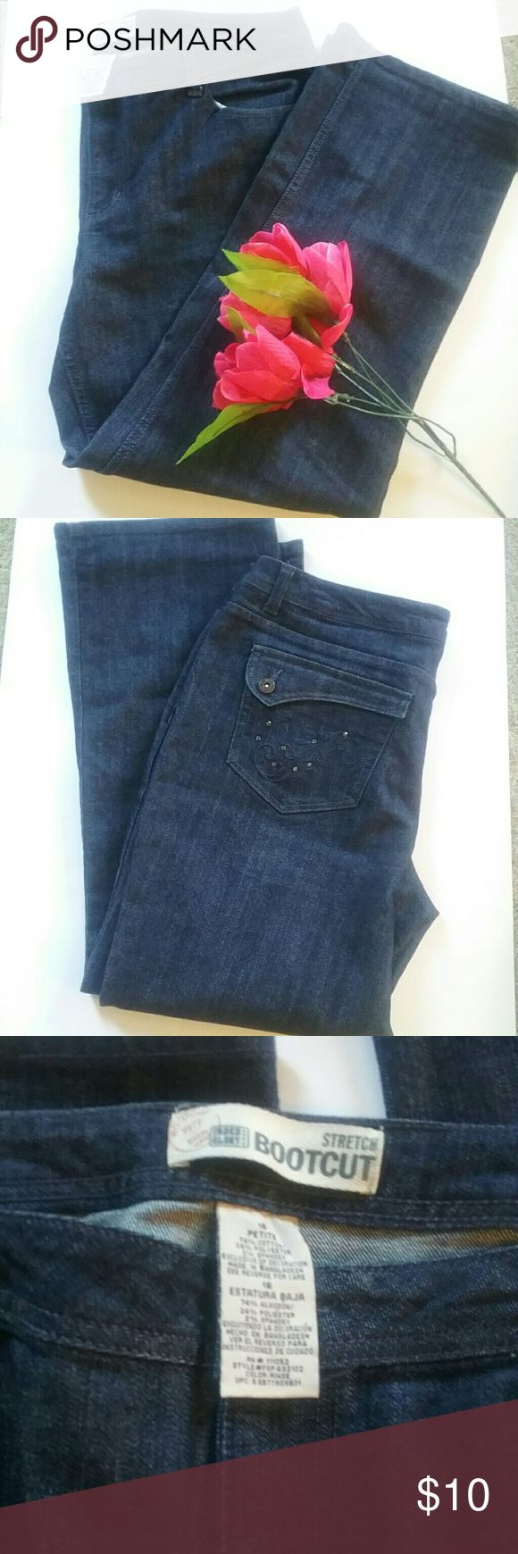 Faded Glory 18 Petite Jeans Med Wash This is a pair of Faded Glory size 18 petite jeans. They are medium wash. They have a little bit of bling on the pockets, and button back pockets. They are medium wash and are in like new condition. Faded Glory Jeans Boot Cut