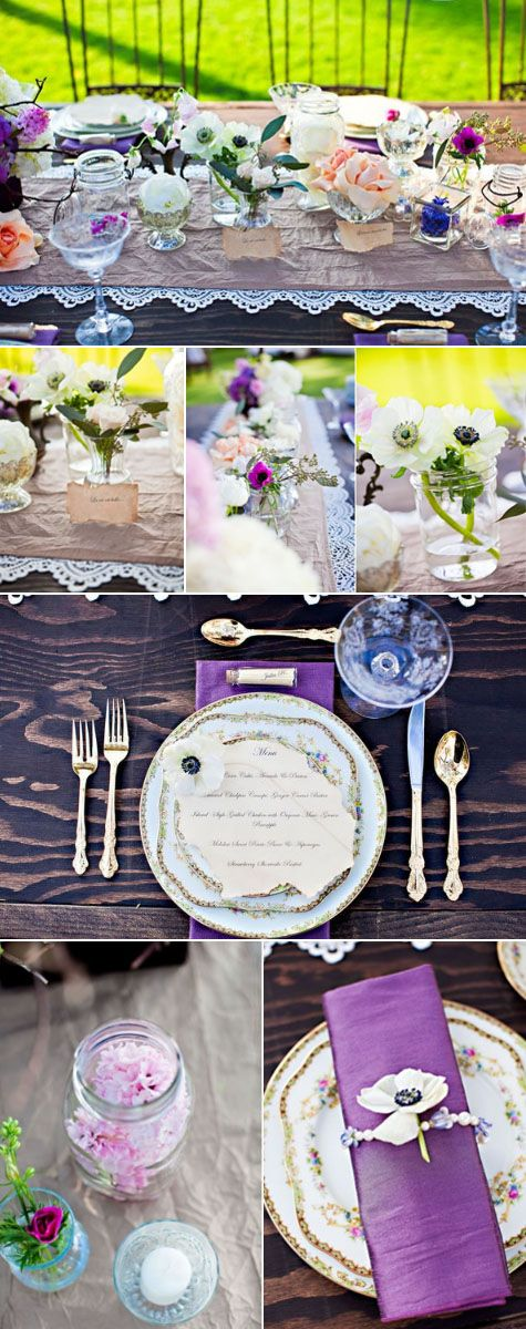 pretty romantic vintage tablescape table setting, love the little bottles for placards, pretty for ladies brunch or luncheon, dinner party, Mother's Day, anniversary, wedding birthday