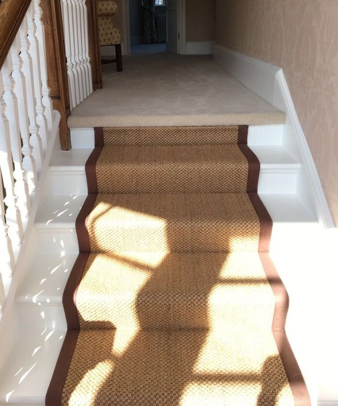 Best Crucial Trading Oriental Copper Sisal Carpet With Dark Brown Taping Fitted As A Stair Runner To 640 x 480
