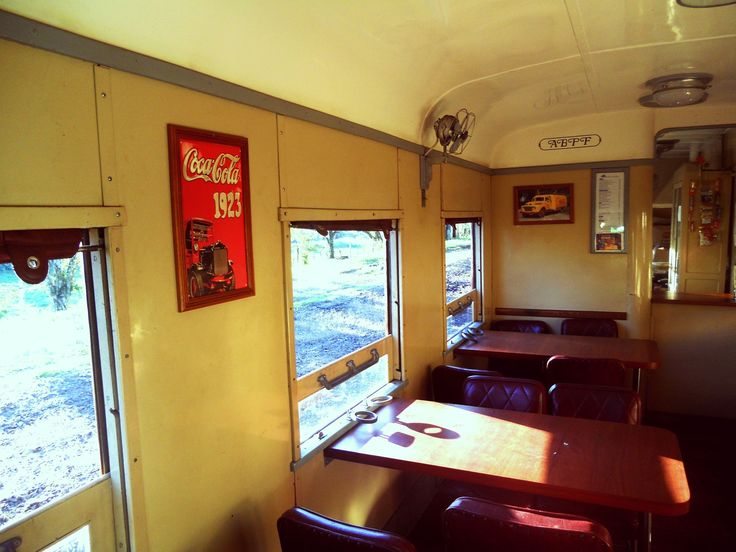 A vintage snack bar in train