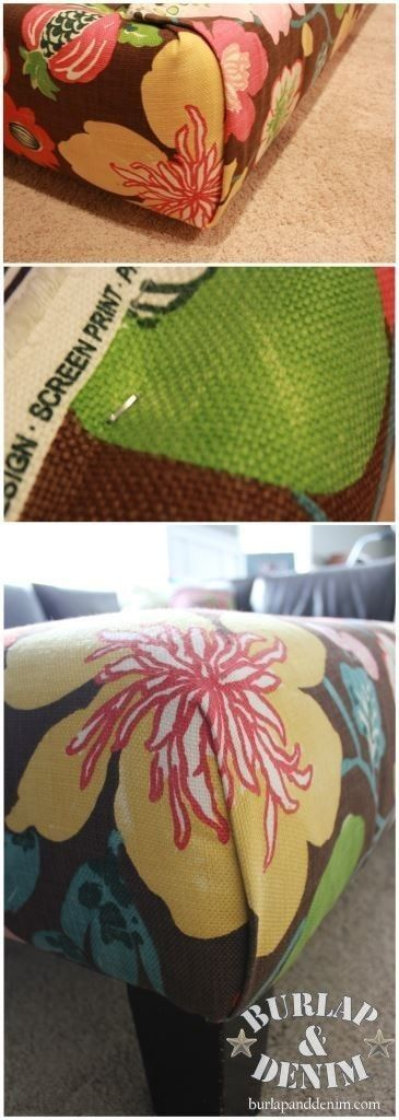 No-Sew Ottoman Slip Cover Tutorial via Burlap and Denim