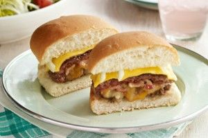 What's For Dinner?  Bacon, Double-Cheese & Onion Stuffed Burgers