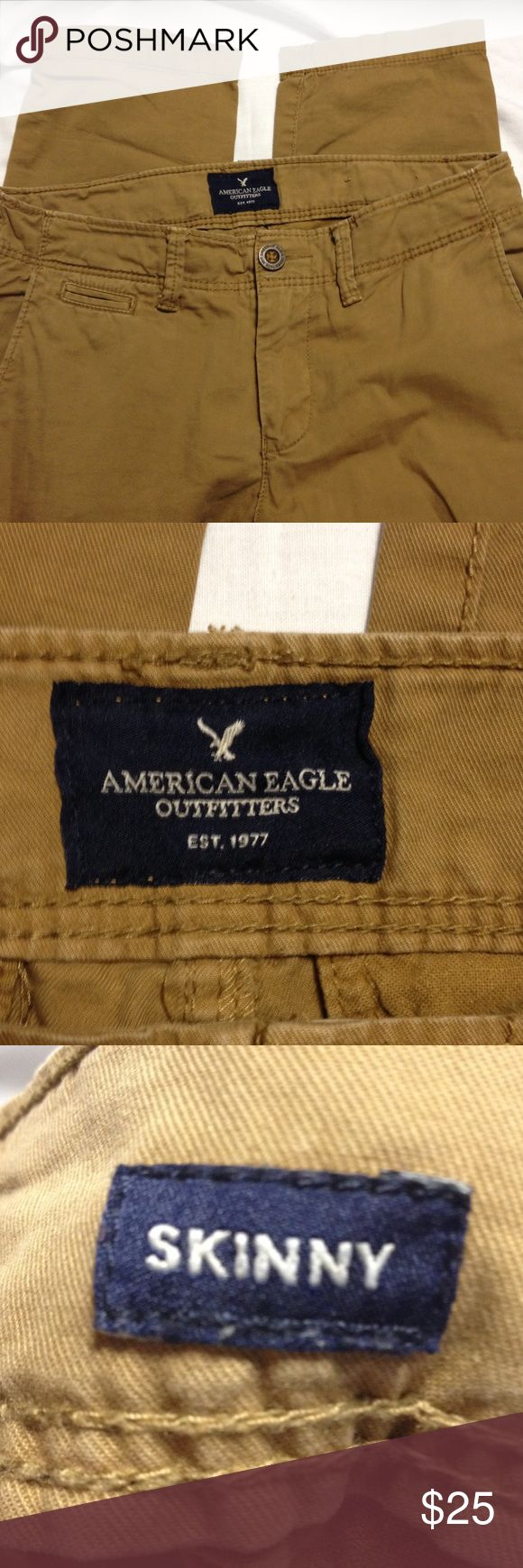 Men's American Eagle skinny khaki pants 29x30 These AE khaki pants are perfect if you must wear khaki pants to work.  They are in excellent preloved condition.  Skinny . 29x30 American Eagle Outfitters Pants Chinos & Khakis