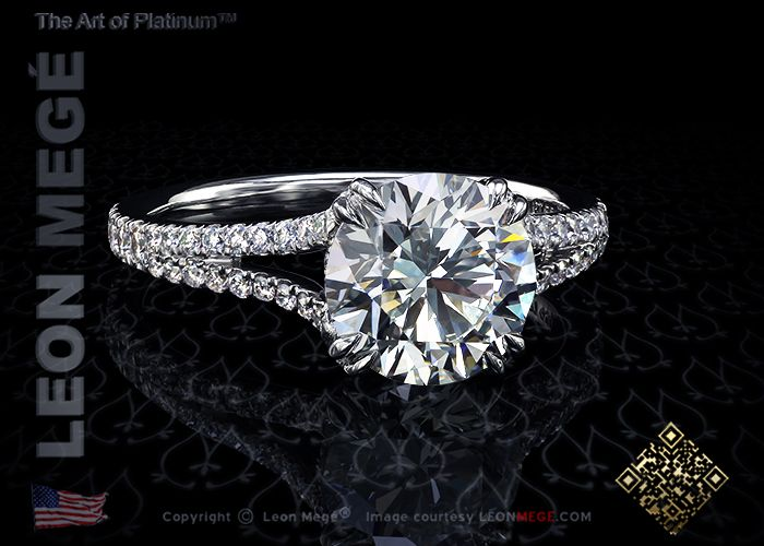 Split shank engagement ring featuring a 1.71 carat round diamond by Leon Megé