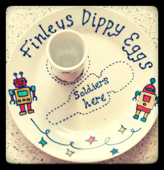 Personalised egg cup and plate by TheGooseisgettingfat on Etsy, £15.00