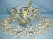 Mid-Century 60's Punch Bowl w/12 BUBBLE CUPS Frosted w/GOLD ROSES