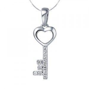 Key Shape Diamond Pendant on 14k White Gold