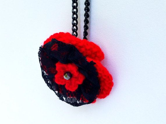 Stylish Handmade Crochet necklace  Red&Back homemade by BumyCraft