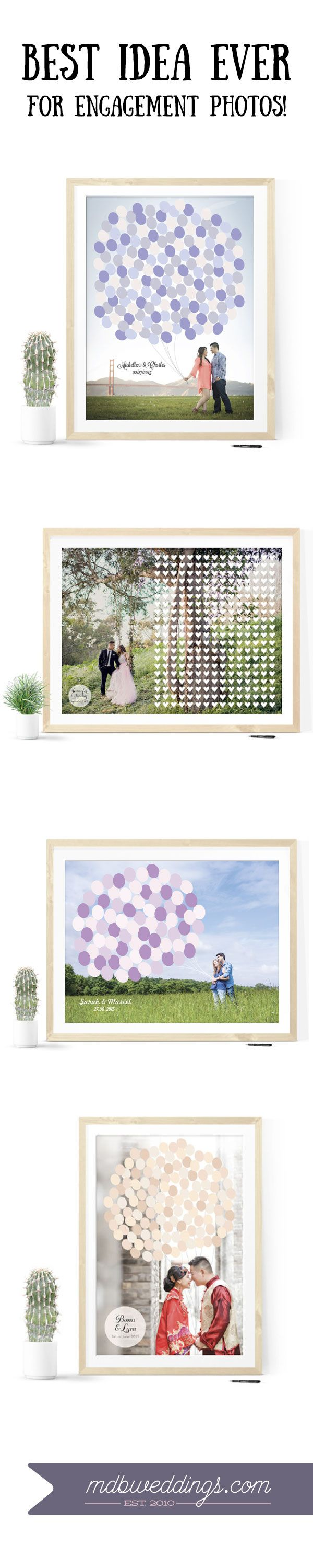 OBSESSED with this. Turn your engagement photos into a beautiful print for guests to sign at your wedding.