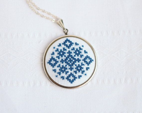 Custom color Hand embroidered necklace geometrical ornament on white by skrynka at etsy.com (Cross stitch necklace made in inspiration of ethnic Ukrainian ornaments, embroidered on linen fabric white color by cotton embroidery floss.)