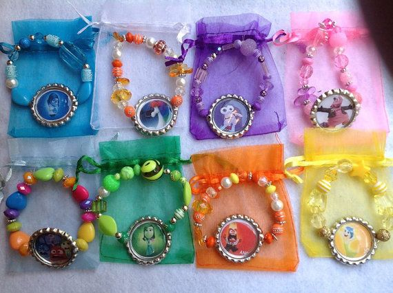 8 Inside out movie Bracelets Party favors. Fast by ChicbyRose