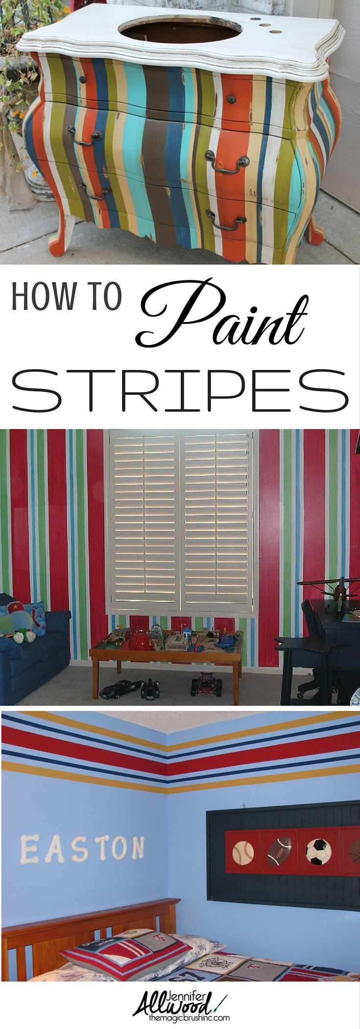 Stripes will always be fashionable! Here's some tips how to paint stripes and great ideas for DIY striped projects - furniture, walls, vanity, and more! From theMagicBrushing.com