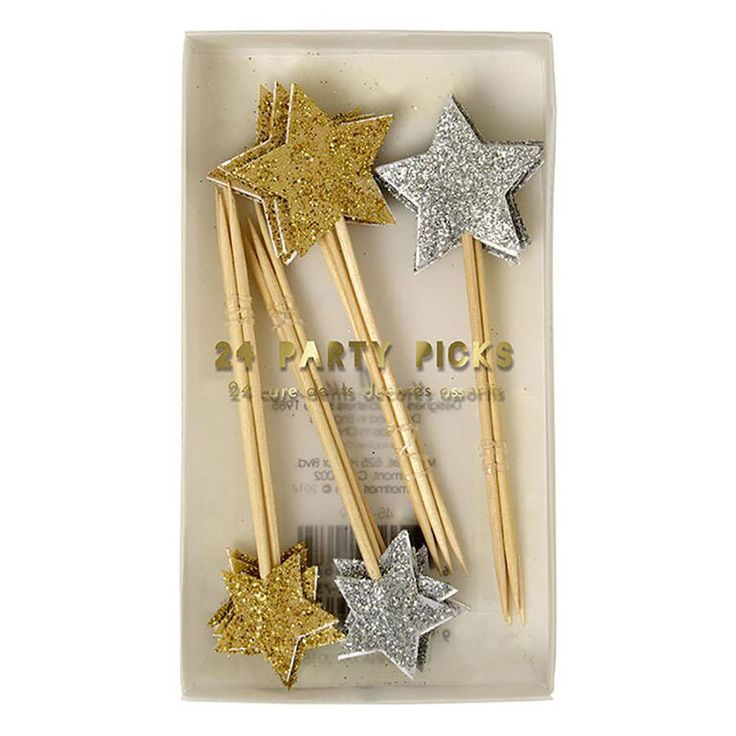 Christmas Gold And Silver Glittery Food Toppers