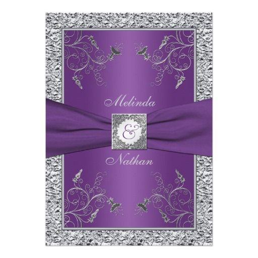 PRINTED RIBBON Purple Silver Wedding Invitation.  #weddinginvitations #wedding #invites