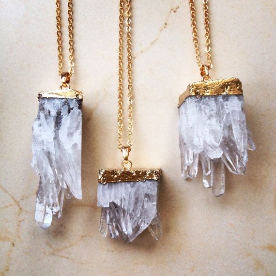 This splendid gold-dipped quartz necklace. | 26 Enchanting Gemstone Accessories You Must Buy