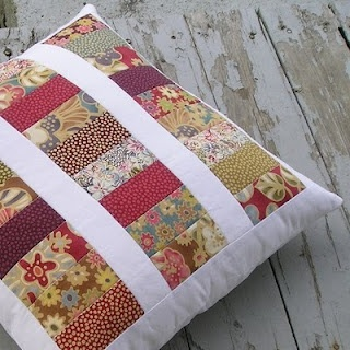 Quiltsy: Quilted Pillow by QuiltFinger. I like the colors