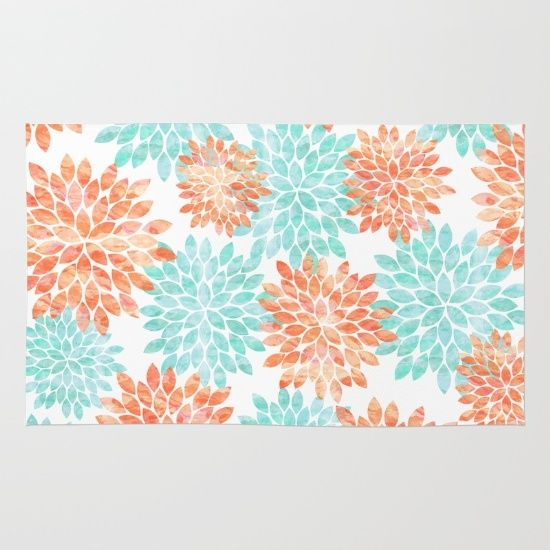 Awesome Aqua And Coral Flowers Rug