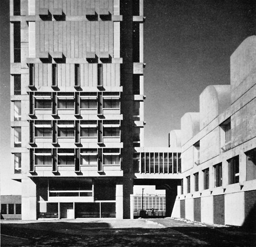 Law Tower, Boston University, 1964 (J.L. Sert), my alma mater. In the brutalist style so favored in Boston in the 60s (see government center)