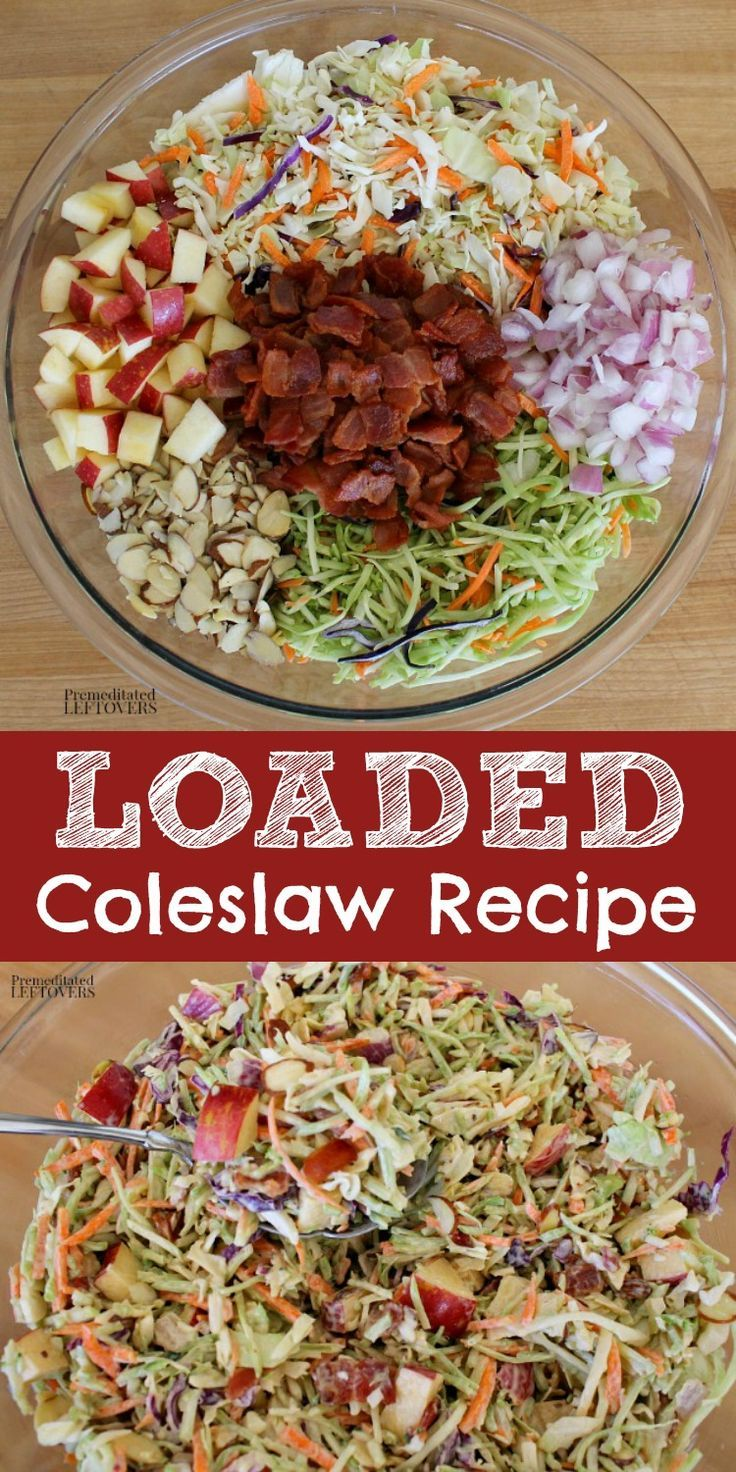 This Loaded Coleslaw Recipe Has Two Types Of Slaw Traditional Cabbage Slaw And Broccoli Slaw It Also Has Bacon Coleslaw Recipe Slaw Recipes Delicious Salads