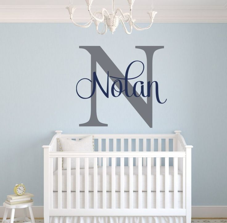 Attractive white nursery ideas with blue wall