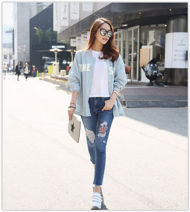 PINKSISLY - Lettering Snap-Button #Jacket #koreanfashion