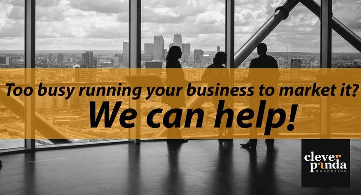 Too busy running your business to market it? We can help. We'll Help You Grow. Visit: http://cleverpanda.co.uk/  #marketingconsultantLondon #facebookadvertising #displayadvertising #emailmarketing #localsearchoptimization #reputationmanagement #retargeting #socialmediamarketing #webdesign