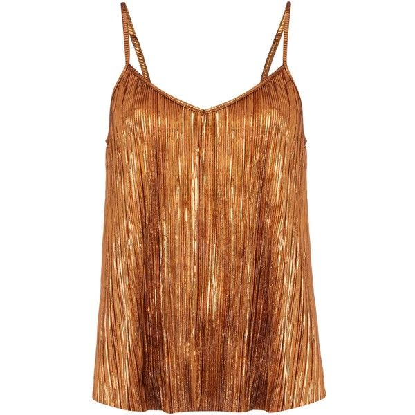 Therapy Afia Bronze Pleated Cami ($31) ❤ liked on Polyvore featuring brown cami and brown camisole