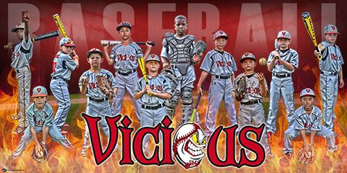 "A big thanks to coach Jason Carpenter from Vicious Baseball in Birmingham, AL for reaching out to us to create their personalized baseball banner. The personalized banner features all the players, team logo, team colors, and some added elements to show just how ""hot"" they are on the field right.  The team will use it for display at their baseball tournaments around the Southeast."