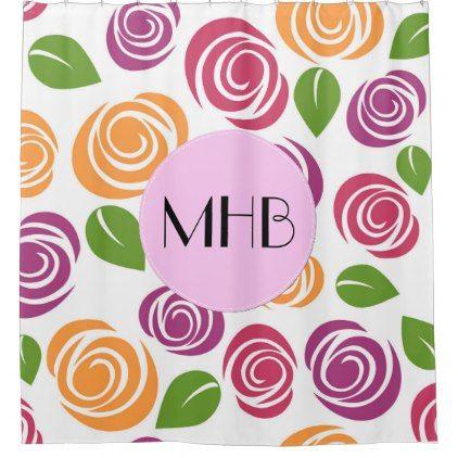 Monogram - Flowers Leaves Blossoms - Orange Pink Shower Curtain - shower curtains home decor custom idea personalize bathroom