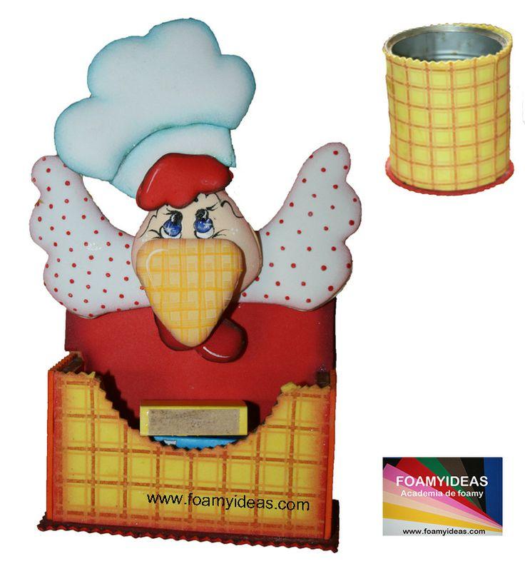 Porta cerillas con gallina. Match holder with hen. http://www.foamyideas.com/moldes/bano-y-cocina/porta-cerillas-con-gallina/details