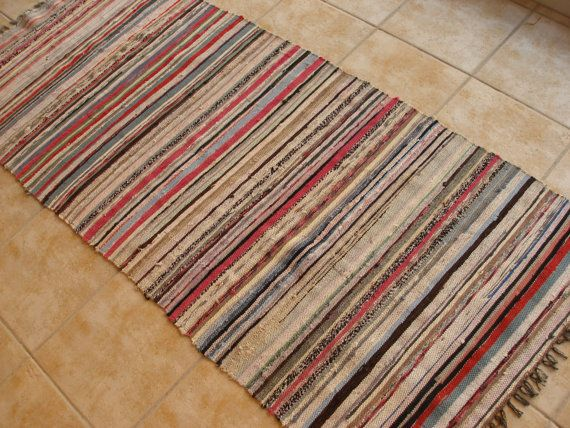Vintage Rag Rug Ecru Red Black Brown Cerulean Blue