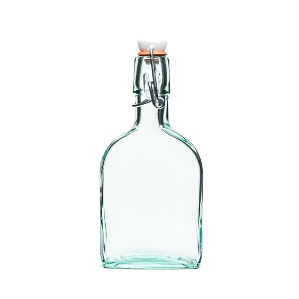 Make from recycled glass, if you make your own salad dressing or vinegar this flask bottle with hermetic top is for you!