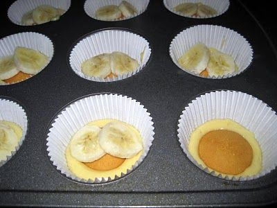 Banana puddin' cupcakes... just what I was looking for! I know I've pinned this before, but HOLY MOLEY!!! I made these for graduation, and they were AMAZING!!! THE BEST cupcakes I've EVER had. Everyone absolutely loved them!