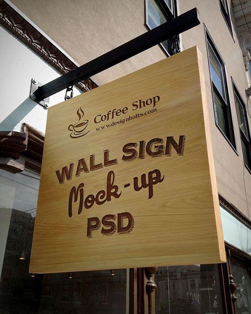 Wooden Advertising Shop Wall Sign Mockup PSD Free