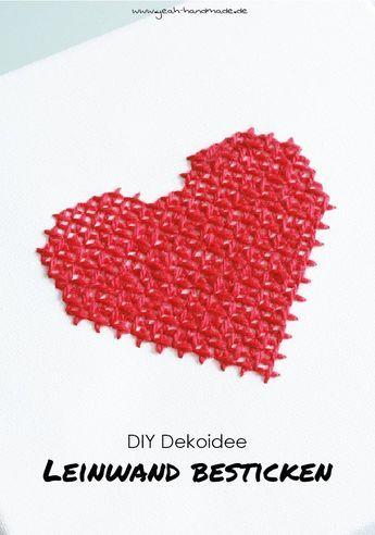 DIY Leinwand mit einem Herz besticken