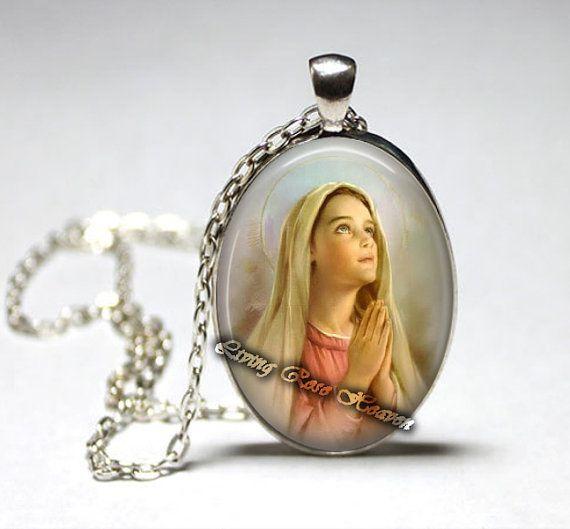 Saint Virgin Mary pendant, Christian jewelry, Catholic Patron, Saint medal, Saint Jewelry, God, Jesus Mother, Heaven, The Bible #6
