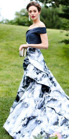 Emmy Rossum in a Carolina Herrera gown at the New York Botanical Garden's 2015 Conservatory Ball