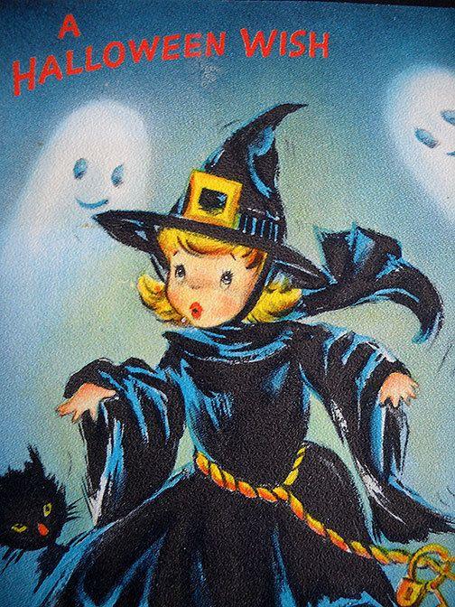 VINTAGE HALLOWEEN WITCH GHOST PUMPKIN BLACK CAT HALLMARK GREETING CARD 1950's