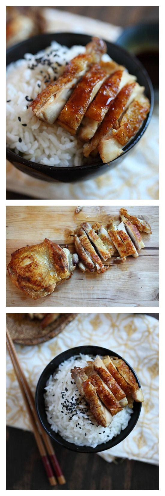 Chicken Teriyaki recipe. The easiest recipe to make teriyaki sauce (3 ingredients) and in 20 minues you have a hearty and delicious meal. http://rasamalaysia.com