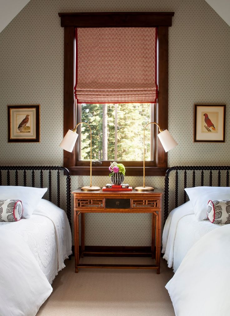 attic guest room with two twin beds designed by palmer weiss - Bedroom Designed