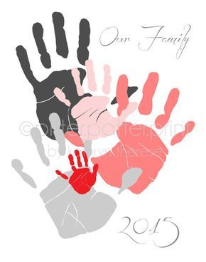 Personalized Family Portrait 5 Handprint Art, Gift for Dad, Mom, Mothers Fathers Day, Your Actual Hand Prints, 11×14 inches UNFRAMED