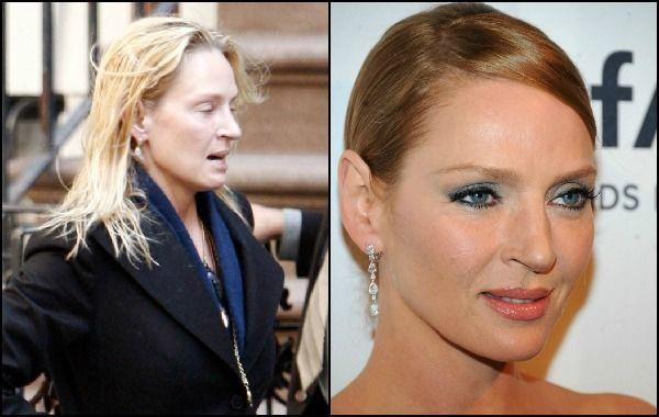 Uma Thurman, actriz y ex modelo estadounidense conocida por sus interpretaciones en 'Amistades peligrosas', 'Pulp Fiction' y 'Kill Bill', con y sin maquillaje