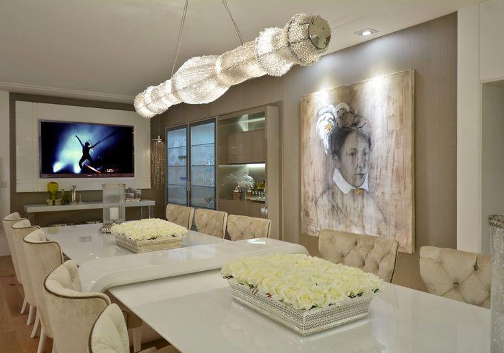 Artesanato Em Feltro ~ Mesa com aparador embutido em salas de jantar e cozinhas u2013 veja modelos lindos! Living Sala