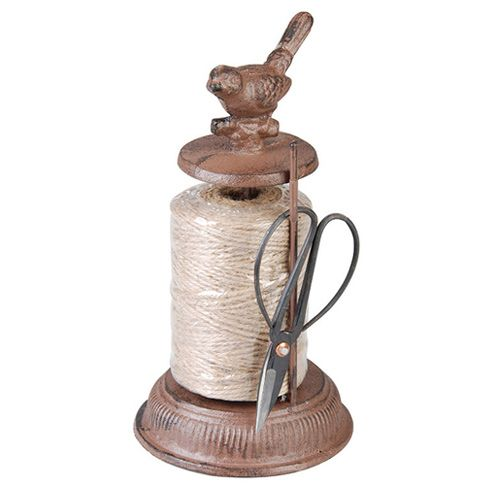 Tie in plants with ease using this traditional rustic string dispenser. Crafted in durable cast iron with decorative bird detailing and scissors, it an essential accessory for the garden and makes a lovely gift for any keen gardener.  http://www.english-heritageshop.org.uk/garden/garden-accessories/sparrow-cast-iron-string-dispenser-scissors