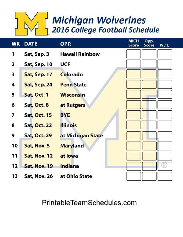 Michigan Wolverines  Football Schedule 2016. Printable Schedule Here - http://printableteamschedules.com/collegefootball/michiganwolverines.php
