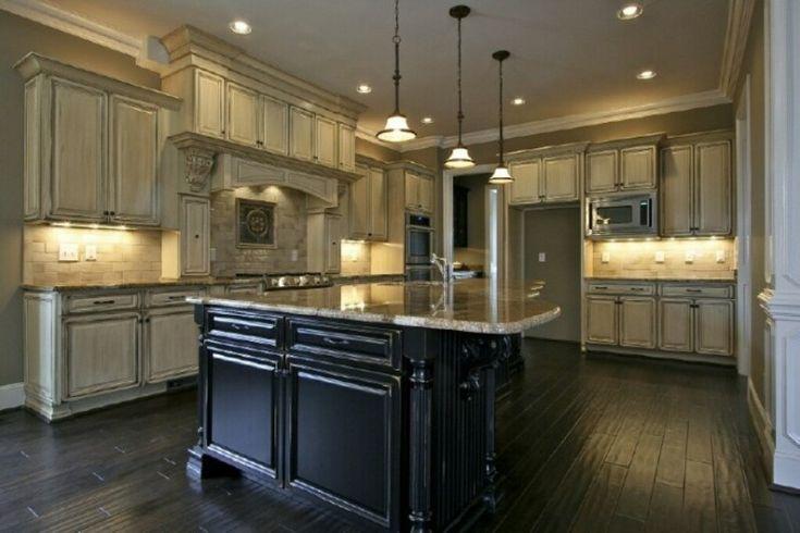 Best Antique White Glazed Cabinets And Black Kitchen Island In 640 x 480