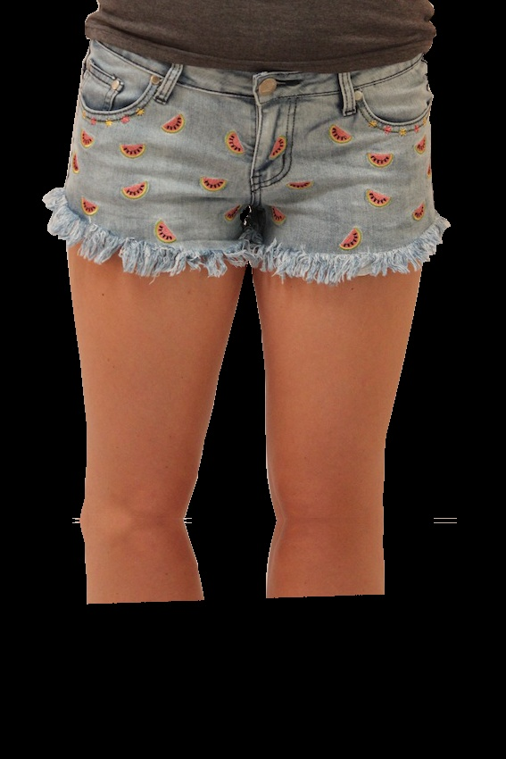 Reverse watermelon shorts. With cute watermelons embroidered into the classic, blue denim wash, these adorable shorts are great with any outfit! $40